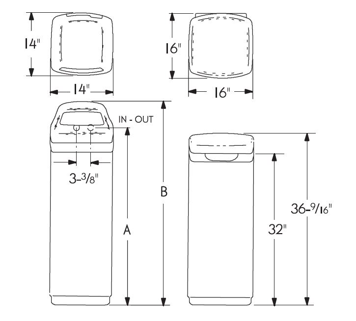 Water Softening ESS1102 dimensions